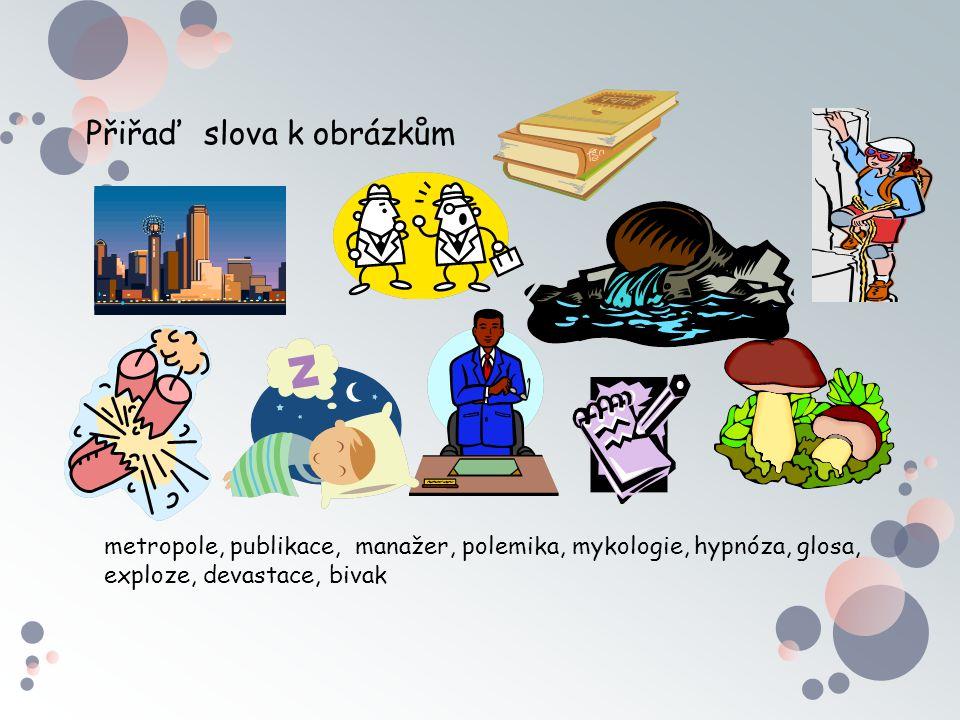 Přiřaď slova k obrázkům metropole, publikace, manažer, polemika, mykologie, hypnóza, glosa, exploze, devastace, bivak