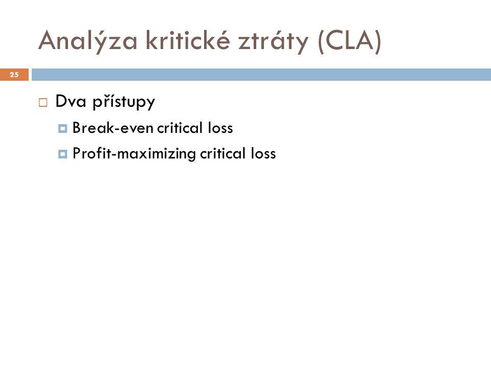 Analýza kritické ztráty (CLA)  Dva přístupy  Break-even critical loss  Profit-maximizing critical loss 25