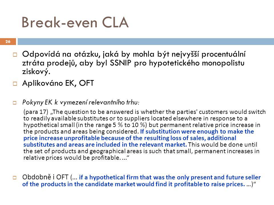 Break-even CLA  Odpovídá na otázku, jaká by mohla být nejvyšší procentuální ztráta prodejů, aby byl SSNIP pro hypotetického monopolistu ziskový.  Ap
