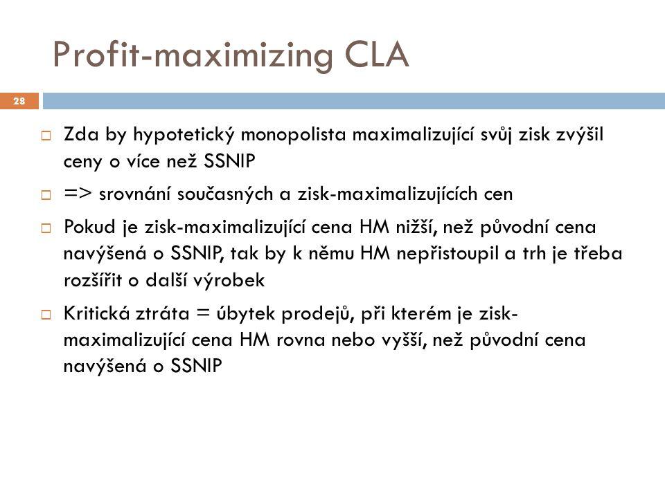 Profit-maximizing CLA  Zda by hypotetický monopolista maximalizující svůj zisk zvýšil ceny o více než SSNIP  => srovnání současných a zisk-maximaliz