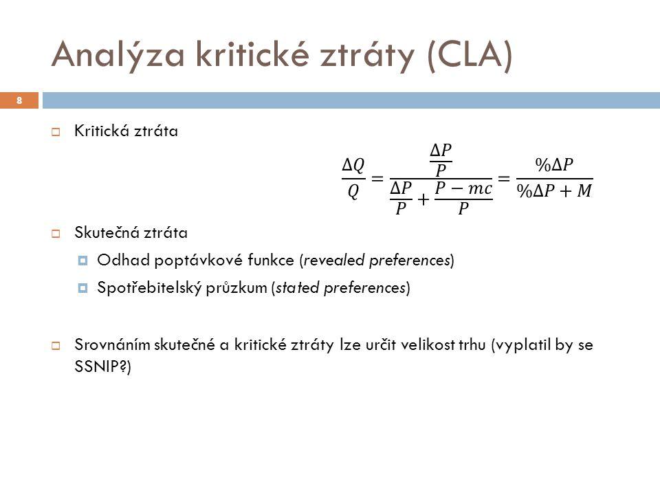 CLA  Pro obě analýzy platí, že je srovnávána skutečná a kritická ztráta  Break-even umožňuje vyšší kritickou ztrátu => vede k užšímu vymezení relevantního trhu  U profit maximizing stačí nižší skutečná ztráta pro překročení kritické ztráty => širší trh 29