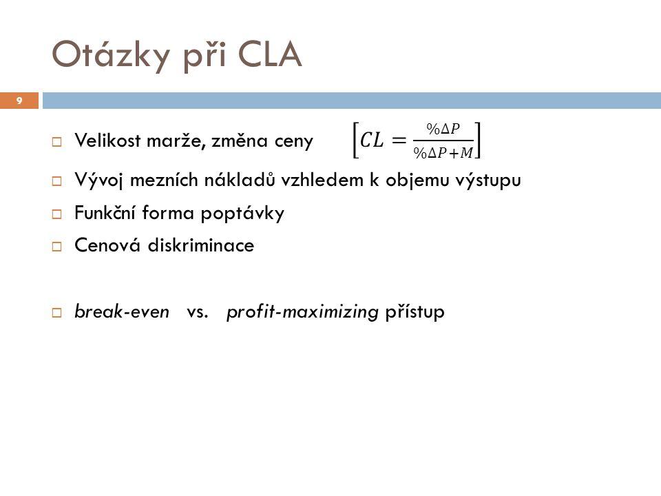 UG Air / Aelia  V případu UG Air / Aelia Úřad nejdříve provedl break-even CLA  skutečná ztráta > kritická ztráta => širší relevantní trh  Při použití profit-maximizing CLA by kritická ztráta byla nižší, než při break-even přístupu  Skutečná ztráta >> kritická ztráta =>stejný závěr 30