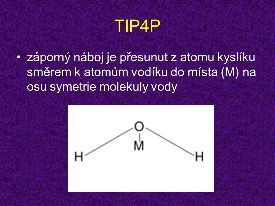 13 TIP4P záporný náboj je přesunut z atomu kyslíku směrem k atomům vodíku do místa (M) na osu symetrie molekuly vody