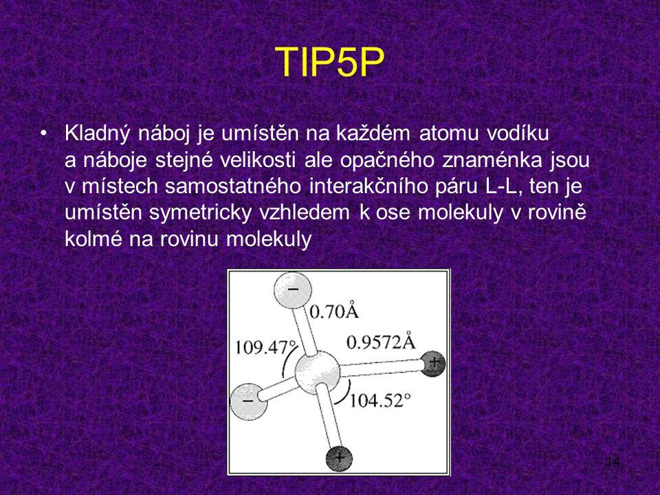 14 TIP5P Kladný náboj je umístěn na každém atomu vodíku a náboje stejné velikosti ale opačného znaménka jsou v místech samostatného interakčního páru L-L, ten je umístěn symetricky vzhledem k ose molekuly v rovině kolmé na rovinu molekuly