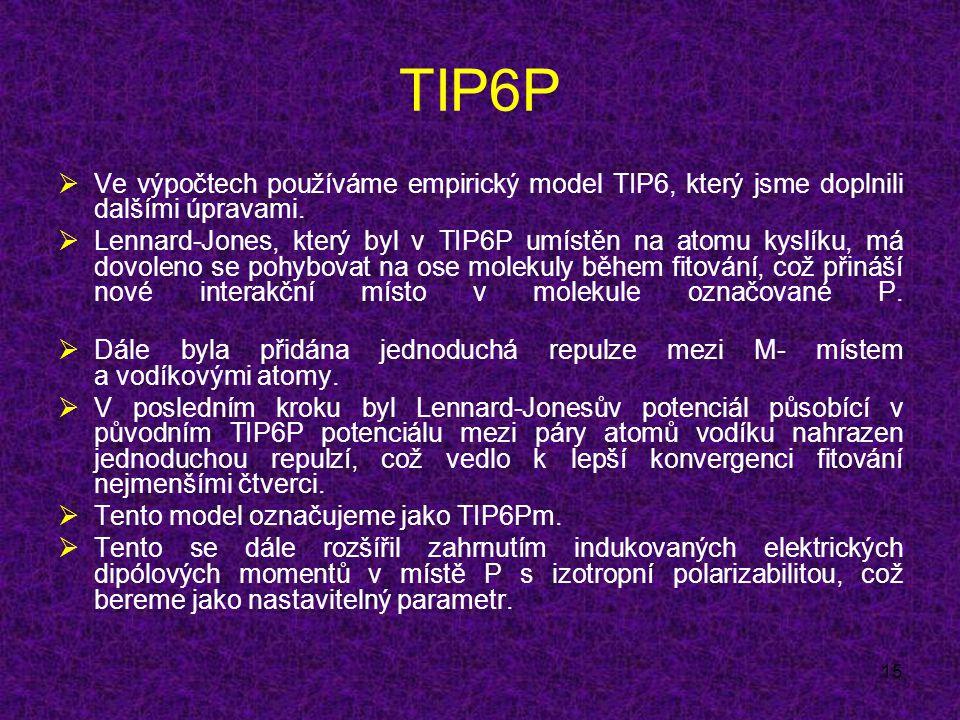 15 TIP6P  Ve výpočtech používáme empirický model TIP6, který jsme doplnili dalšími úpravami.
