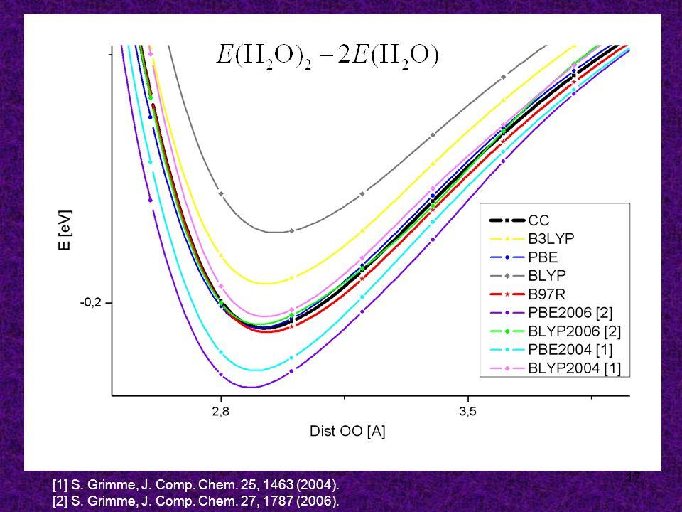 17 [1] S. Grimme, J. Comp. Chem. 25, 1463 (2004). [2] S. Grimme, J. Comp. Chem. 27, 1787 (2006).