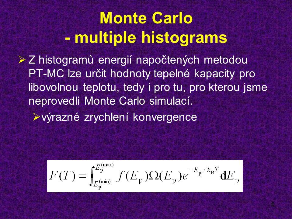 6 Monte Carlo - multiple histograms  Z histogramů energií napočtených metodou PT-MC lze určit hodnoty tepelné kapacity pro libovolnou teplotu, tedy i pro tu, pro kterou jsme neprovedli Monte Carlo simulací.