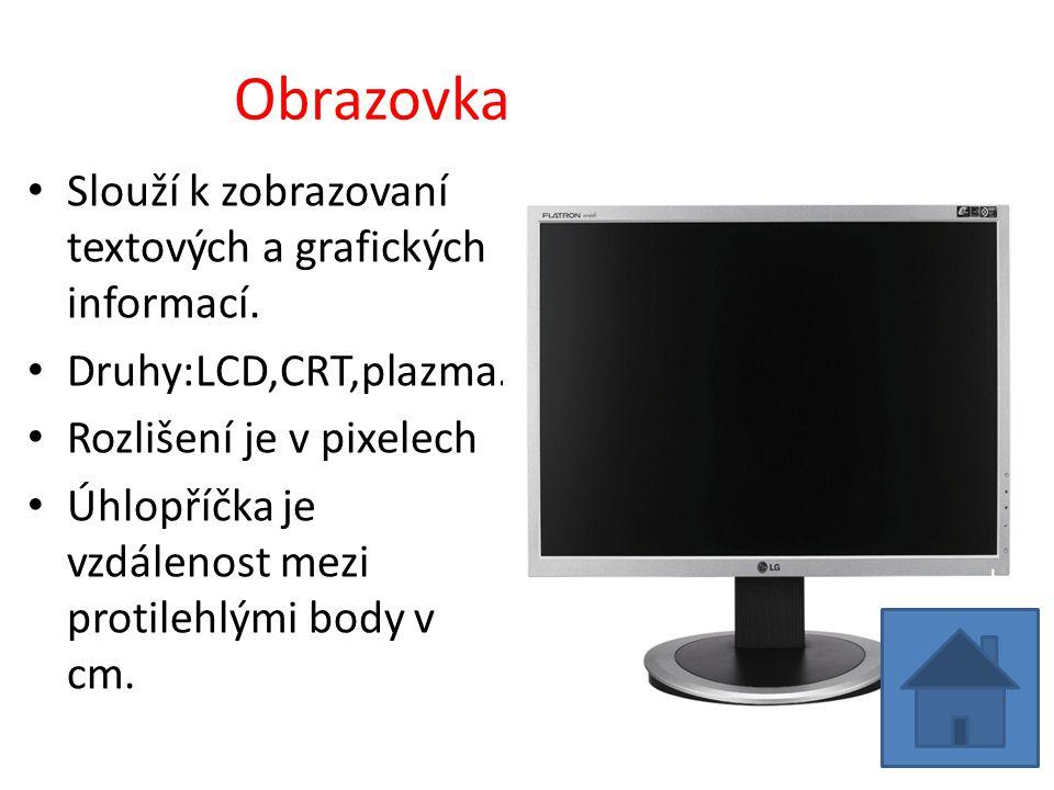 Obrazovka Slouží k zobrazovaní textových a grafických informací.