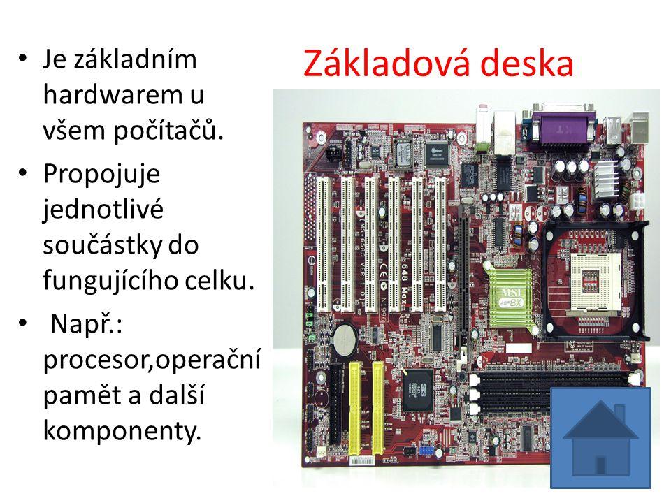 Základová deska Je základním hardwarem u všem počítačů.