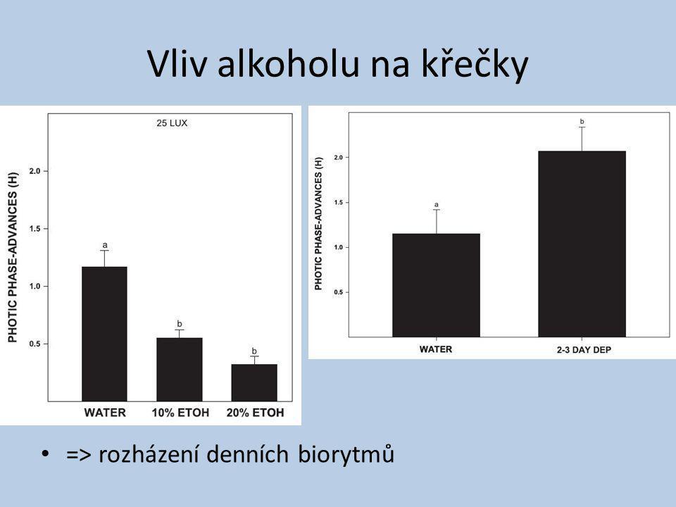 Vliv alkoholu na křečky => rozházení denních biorytmů