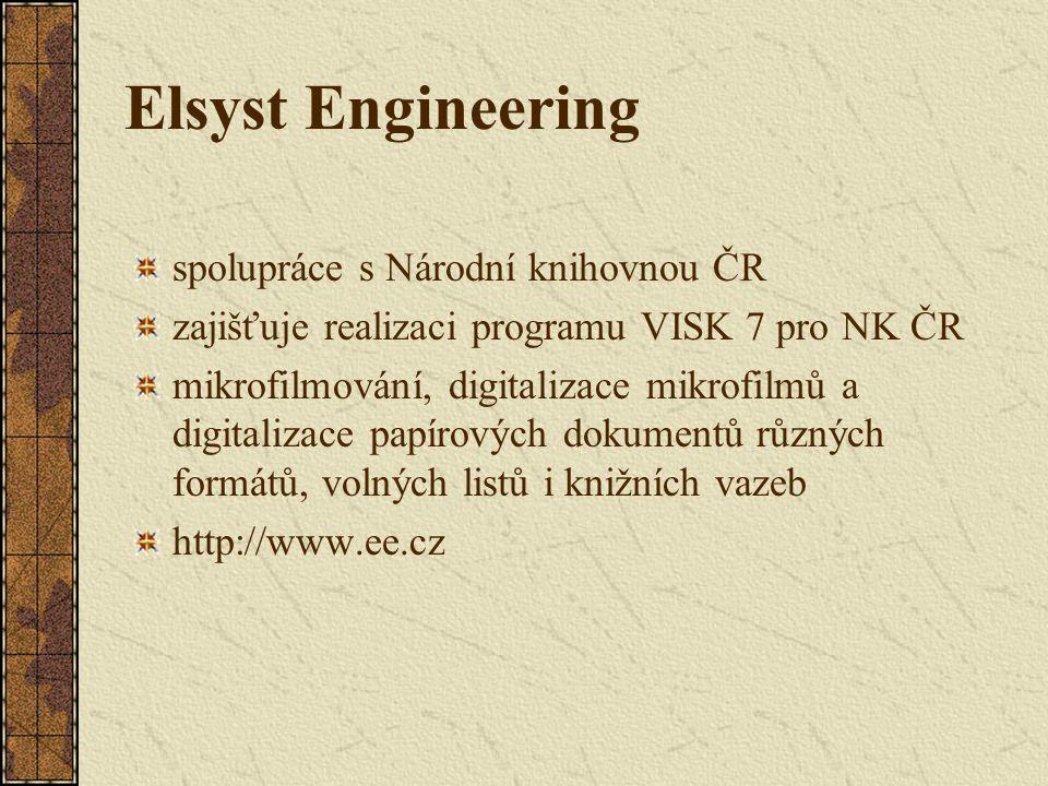 Elsyst Engineering spolupráce s Národní knihovnou ČR zajišťuje realizaci programu VISK 7 pro NK ČR mikrofilmování, digitalizace mikrofilmů a digitaliz