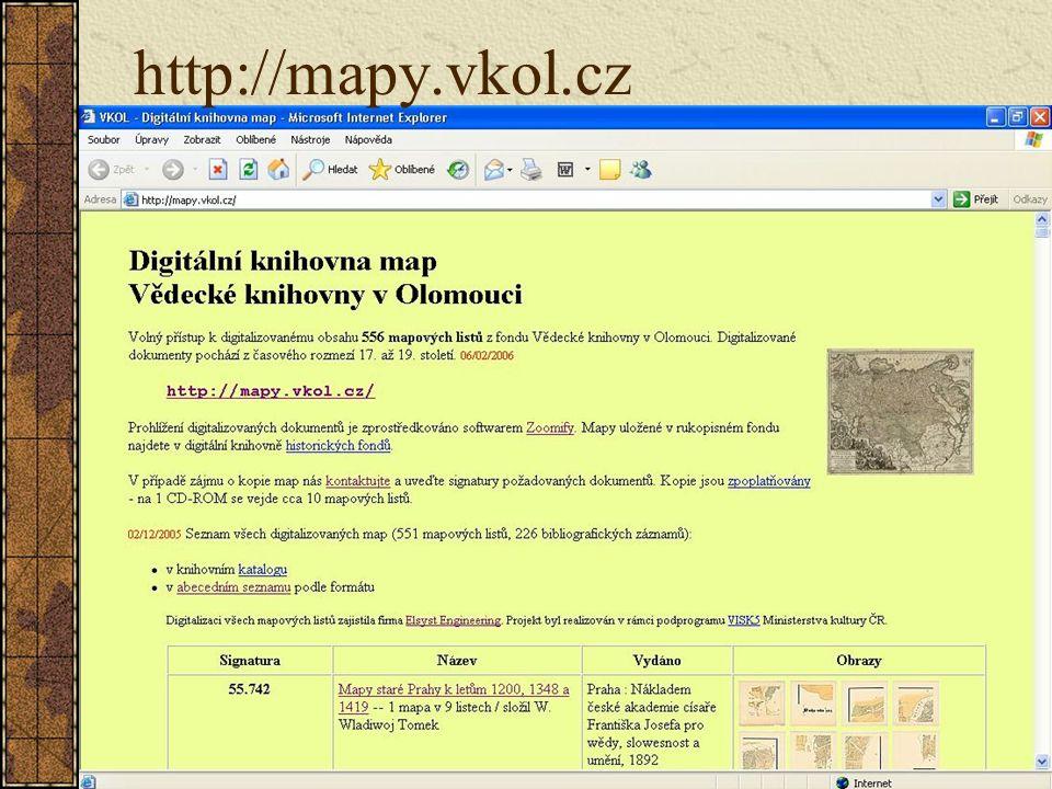 Odkazy www.vkol.cz http://mapy.vkol.cz http://dig.vkol.cz www.zoomify.com www.ee.cz http://oldmaps.geolab.cz http://bruna.geolab.cz/files/publ/geoinf_brno1.pdf (Staré mapy v prostředí Internetu)