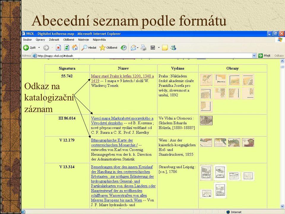 Odkaz na katalogizační záznam Abecední seznam podle formátu