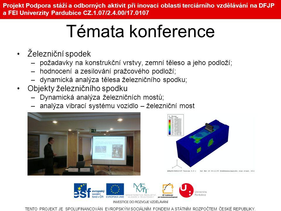 Projekt Podpora stáží a odborných aktivit při inovaci oblasti terciárního vzdělávání na DFJP a FEI Univerzity Pardubice CZ.1.07/2.4.00/17.0107 Témata
