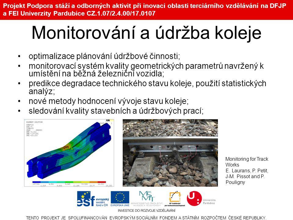 Projekt Podpora stáží a odborných aktivit při inovaci oblasti terciárního vzdělávání na DFJP a FEI Univerzity Pardubice CZ.1.07/2.4.00/17.0107 Monitor