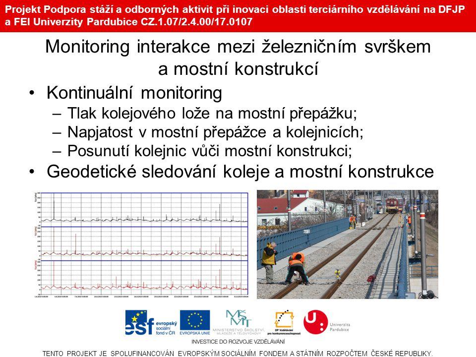 Projekt Podpora stáží a odborných aktivit při inovaci oblasti terciárního vzdělávání na DFJP a FEI Univerzity Pardubice CZ.1.07/2.4.00/17.0107 Monitoring interakce mezi železničním svrškem a mostní konstrukcí Kontinuální monitoring –Tlak kolejového lože na mostní přepážku; –Napjatost v mostní přepážce a kolejnicích; –Posunutí kolejnic vůči mostní konstrukci; Geodetické sledování koleje a mostní konstrukce TENTO PROJEKT JE SPOLUFINANCOVÁN EVROPSKÝM SOCIÁLNÍM FONDEM A STÁTNÍM ROZPOČTEM ČESKÉ REPUBLIKY.