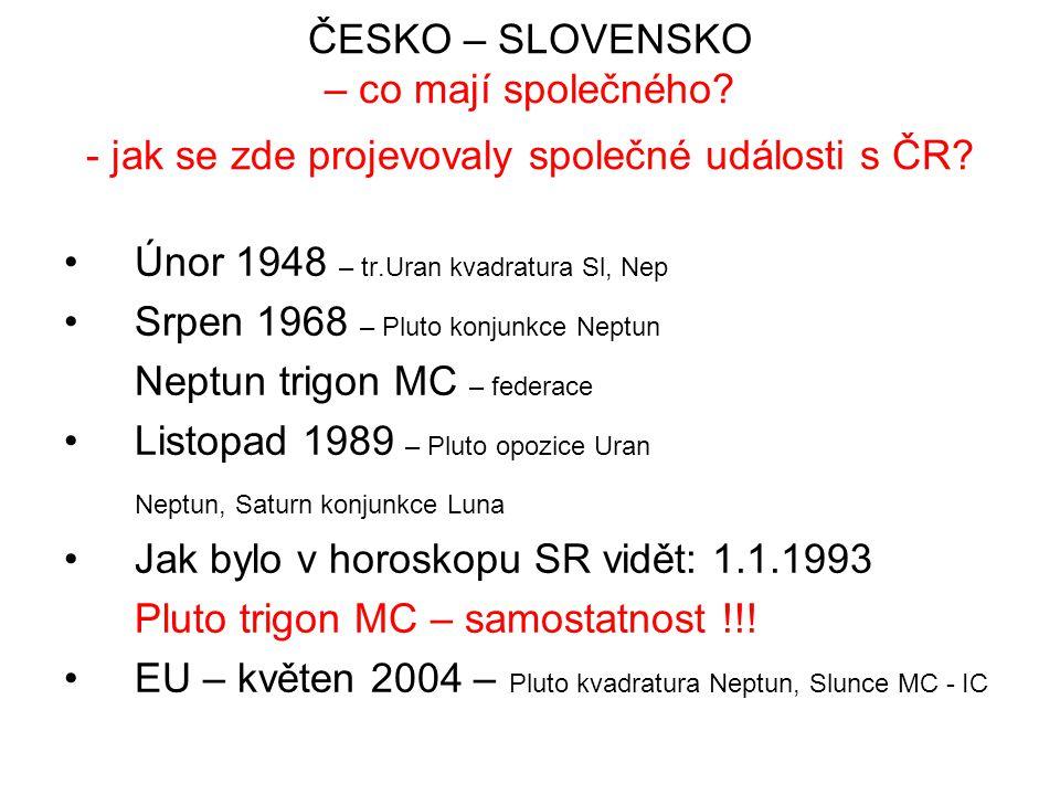 ČESKO – SLOVENSKO – co mají společného? - jak se zde projevovaly společné události s ČR? Únor 1948 – tr.Uran kvadratura Sl, Nep Srpen 1968 – Pluto kon