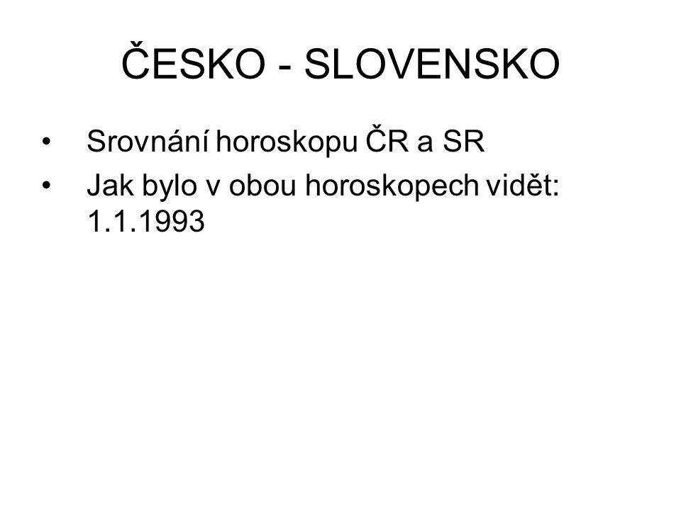 ČESKO - SLOVENSKO Srovnání horoskopu ČR a SR Jak bylo v obou horoskopech vidět: 1.1.1993