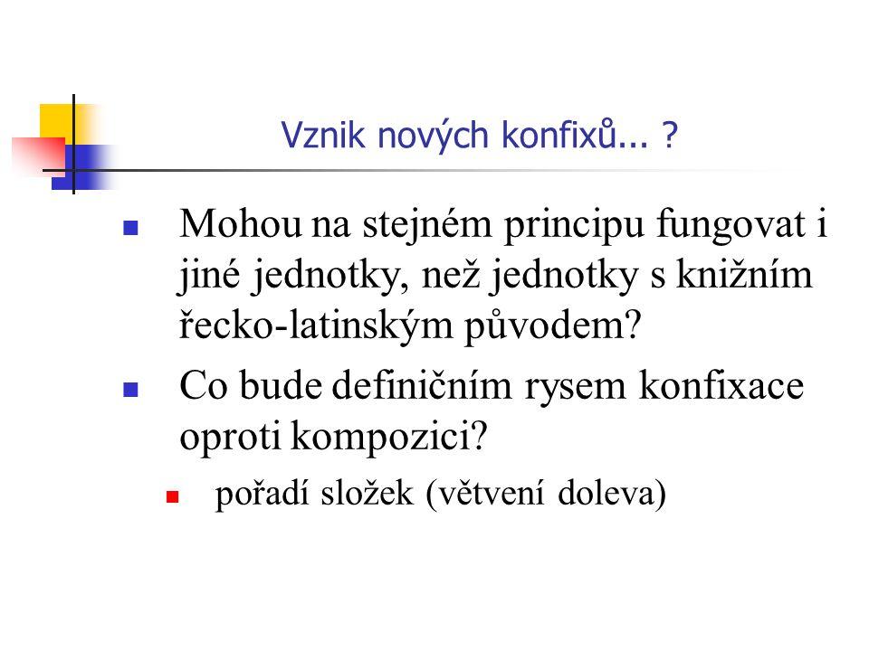 Vznik nových konfixů... ? Mohou na stejném principu fungovat i jiné jednotky, než jednotky s knižním řecko-latinským původem? Co bude definičním rysem