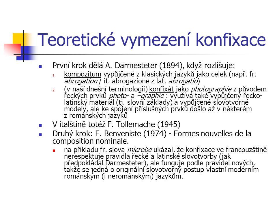 Teoretické vymezení konfixace První krok dělá A. Darmesteter (1894), když rozlišuje: 1. kompozitum vypůjčené z klasických jazyků jako celek (např. fr.