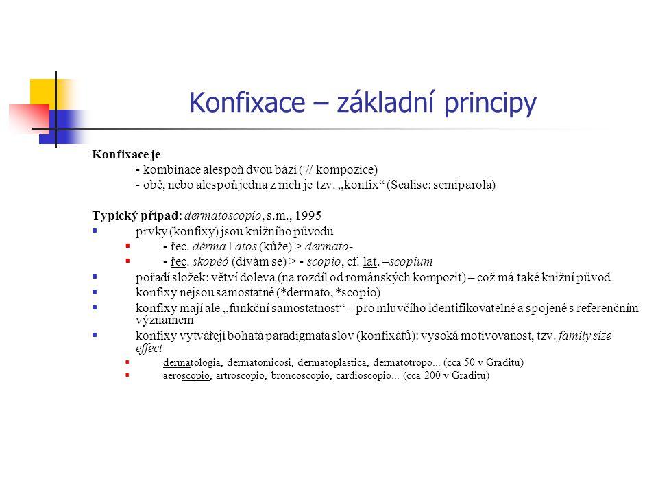 """Konfixace – základní principy Konfixace je - kombinace alespoň dvou bází ( // kompozice) - obě, nebo alespoň jedna z nich je tzv. """"konfix"""" (Scalise: s"""