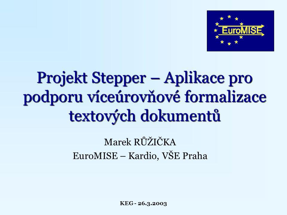 KEG - 26.3.2003 Obsah Metodiky víceúrovňové formalizace Souhrn požadavků na aplikaci Uživatelský interface Dodatečné moduly aplikace Možnosti využití Plány do budoucna