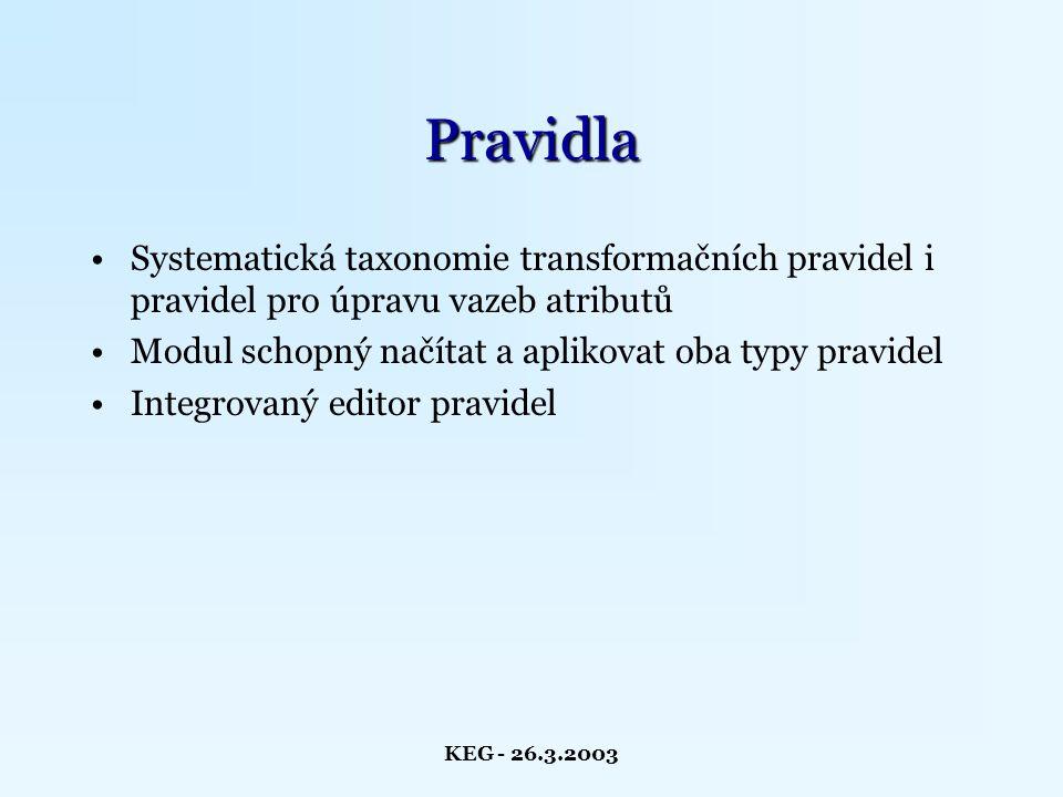 KEG - 26.3.2003 Pravidla Systematická taxonomie transformačních pravidel i pravidel pro úpravu vazeb atributů Modul schopný načítat a aplikovat oba typy pravidel Integrovaný editor pravidel