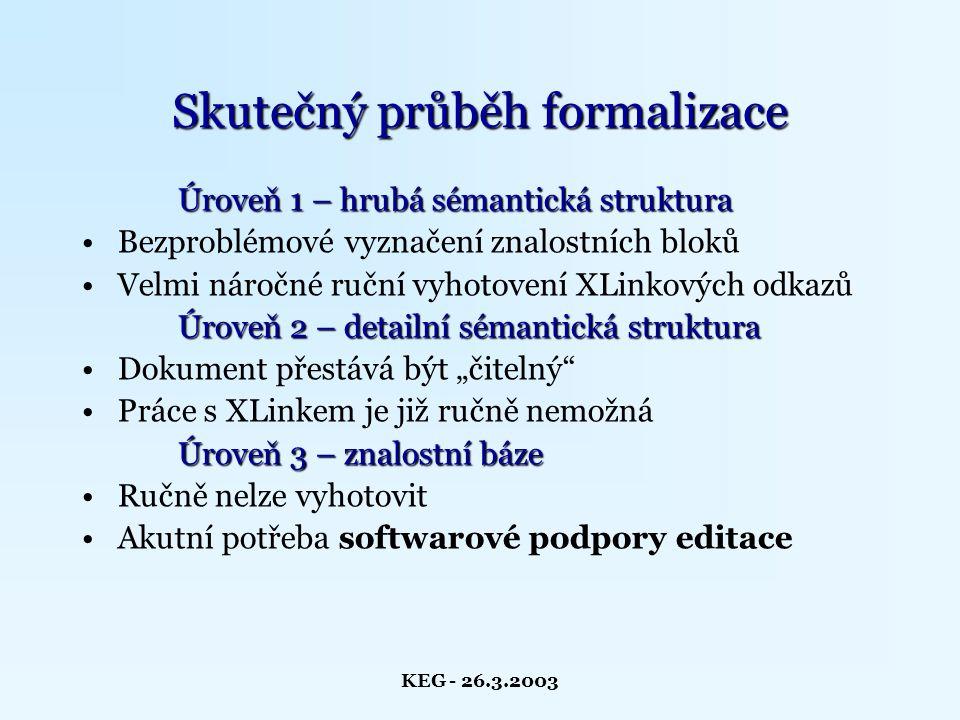 """KEG - 26.3.2003 Skutečný průběh formalizace Úroveň 1 – hrubá sémantická struktura Bezproblémové vyznačení znalostních bloků Velmi náročné ruční vyhotovení XLinkových odkazů Úroveň 2 – detailní sémantická struktura Dokument přestává být """"čitelný Práce s XLinkem je již ručně nemožná Úroveň 3 – znalostní báze Ručně nelze vyhotovit Akutní potřeba softwarové podpory editace"""