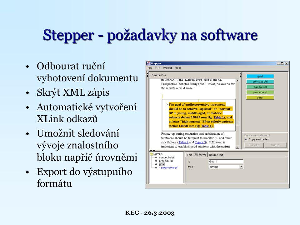 KEG - 26.3.2003 Charakteristika Stepperu Programovací jazyk - Java Vlastní DTD i XML parser Částečná podpora XLink/XPointer Zahrnuje XSLT procesor XALAN Vlastní procesor XKBT pravidel