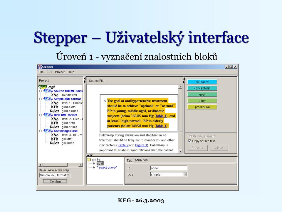 KEG - 26.3.2003 Stepper – Uživatelský interface Úroveň 1 - vyznačení znalostních bloků