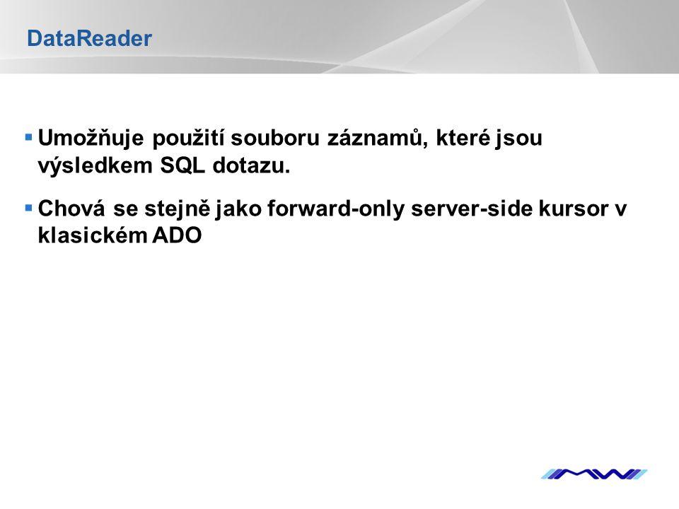YOUR LOGO DataReader  Umožňuje použití souboru záznamů, které jsou výsledkem SQL dotazu.  Chová se stejně jako forward-only server-side kursor v kla