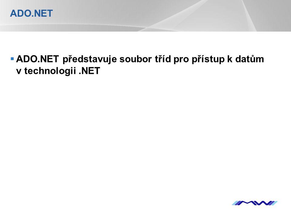 YOUR LOGO Update SqlDataAdapter adapter = new SqlDataAdapter( select * from zamestnanci , server=localhost;database=mojeDatabaze;uid=sa;pwd= ); DataSet ds = new DataSet(); adapter.Fill(ds, zamestnanci ); SqlCommandBuilder stavitel = new SqlCommandBuilder(adapter); //Vložen í nov é ho ř á dku DataTable tabulka = ds.Tables[ zamestnanci ]; DataRow novy_radek = tabulka.NewRow(); novy_radek[ jmeno ] = Jan Okoun ; novy_radek[ pozice ] = sef ; novy_radek[ adresa ] = Nekde 12 ; novy_radek[ telefon ] = 555685 ; novy_radek[ plat ] = 45000 ; tabulka.Rows.Add(novy_radek); //Postoupen í změněných ř á dek zp á tky do datab á ze adapter.Update(ds);