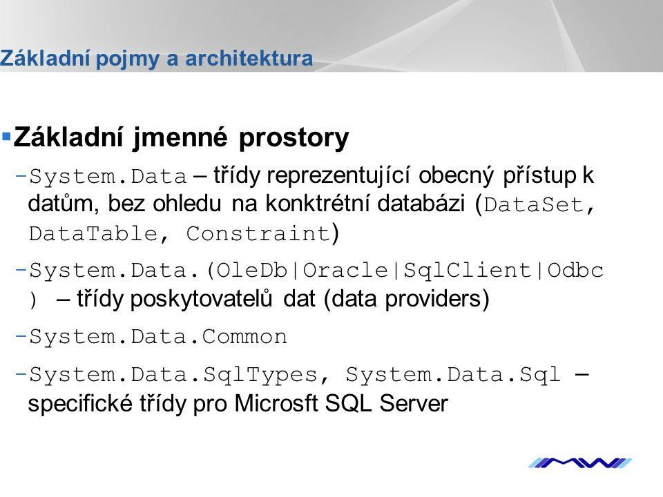 YOUR LOGO Základní pojmy a architektura  Základní jmenné prostory -System.Data – třídy reprezentující obecný přístup k datům, bez ohledu na konktrétní databázi ( DataSet, DataTable, Constraint ) -System.Data.(OleDb|Oracle|SqlClient|Odbc ) – třídy poskytovatelů dat (data providers) -System.Data.Common -System.Data.SqlTypes, System.Data.Sql – specifické třídy pro Microsft SQL Server