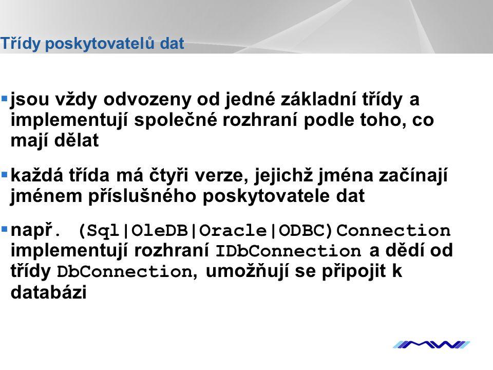YOUR LOGO Naplnenie DataSetu  Dva spôsoby: -Použití objektu DataAdapter, který vrací výsledek SQL dotazu ve formě XML.