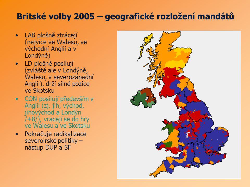 Britské volby 2005 – geografické rozložení mandátů LAB plošně ztrácejí (nejvíce ve Walesu, ve východní Anglii a v Londýně) LD plošně posilují (zvláště ale v Londýně, Walesu, v severozápadní Anglii), drží silné pozice ve Skotsku CON posilují především v Anglii (zj.