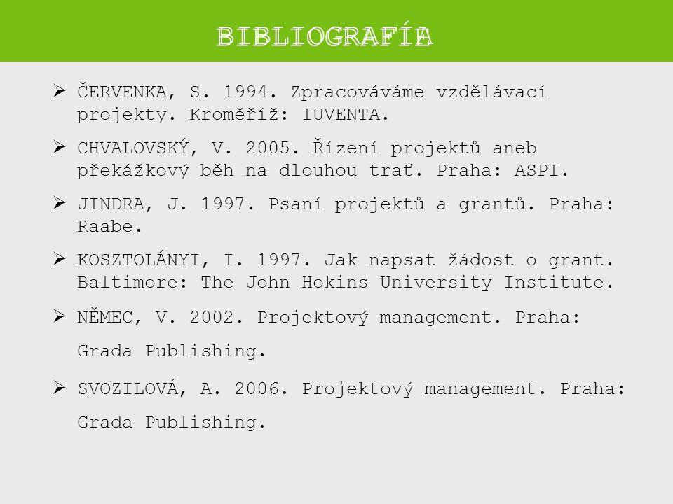 BIBLIOGRAFIE  ČERVENKA, S.1994. Zpracováváme vzdělávací projekty.