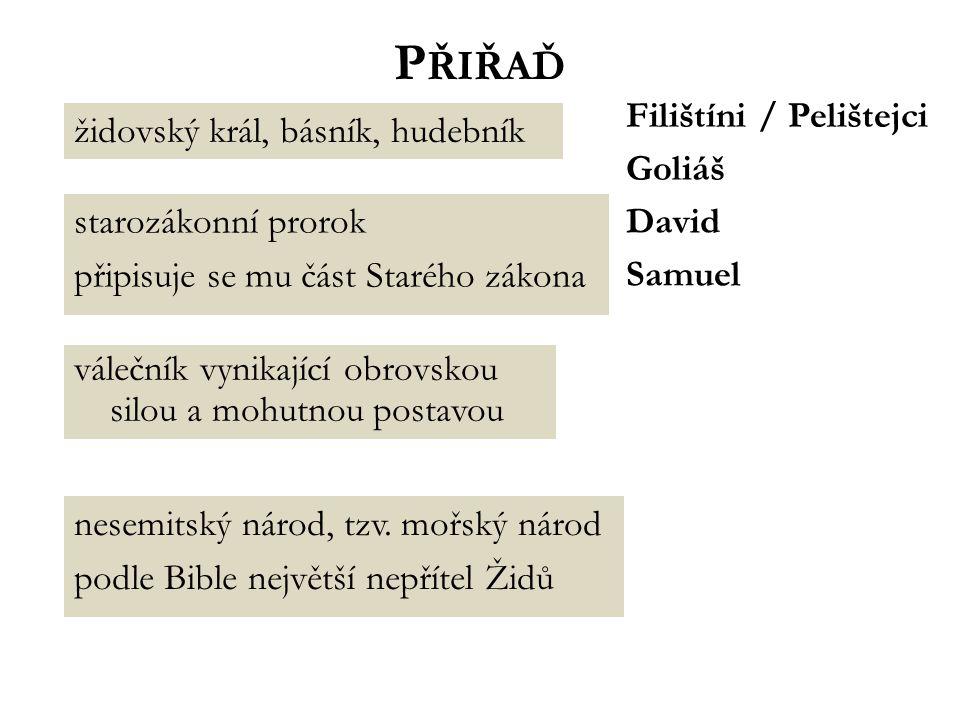 D AVID častý motiv pro umělce různých uměleckých stylů Úkol: Vyjmenuj několik slavných vypodobnění Davida, Goliáše nebo jejich souboje.