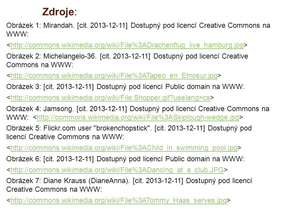 Zdroje: Obrázek 1: Mirandah. [cit. 2013-12-11] Dostupný pod licencí Creative Commons na WWW: http://commons.wikimedia.org/wiki/File%3ADrachenflug_live