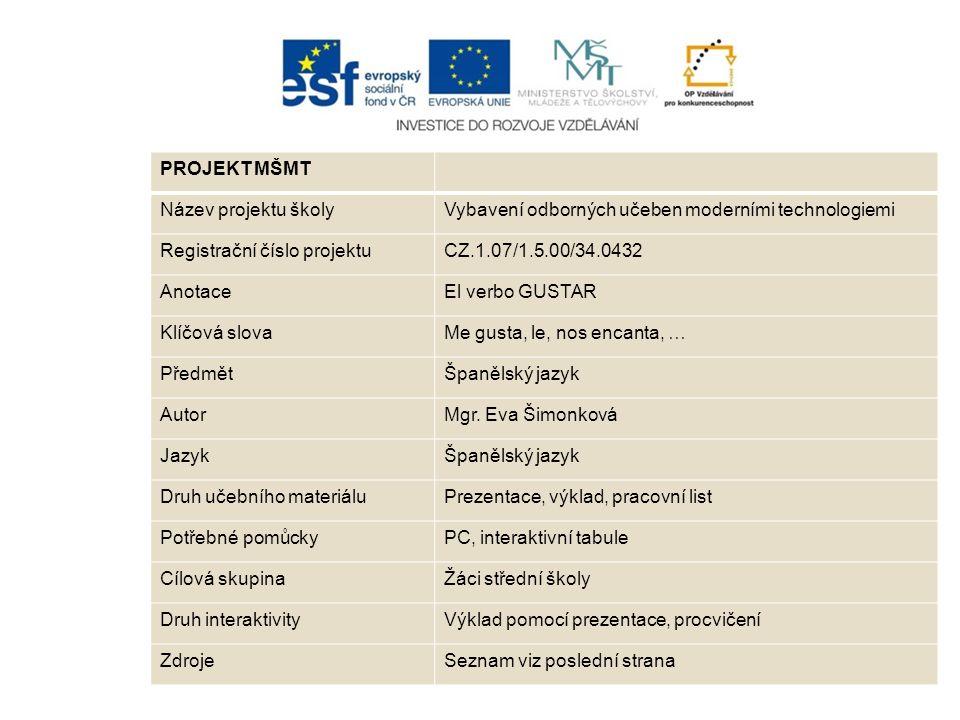 PROJEKT MŠMT Název projektu školyVybavení odborných učeben moderními technologiemi Registrační číslo projektuCZ.1.07/1.5.00/34.0432 AnotaceEl verbo GU