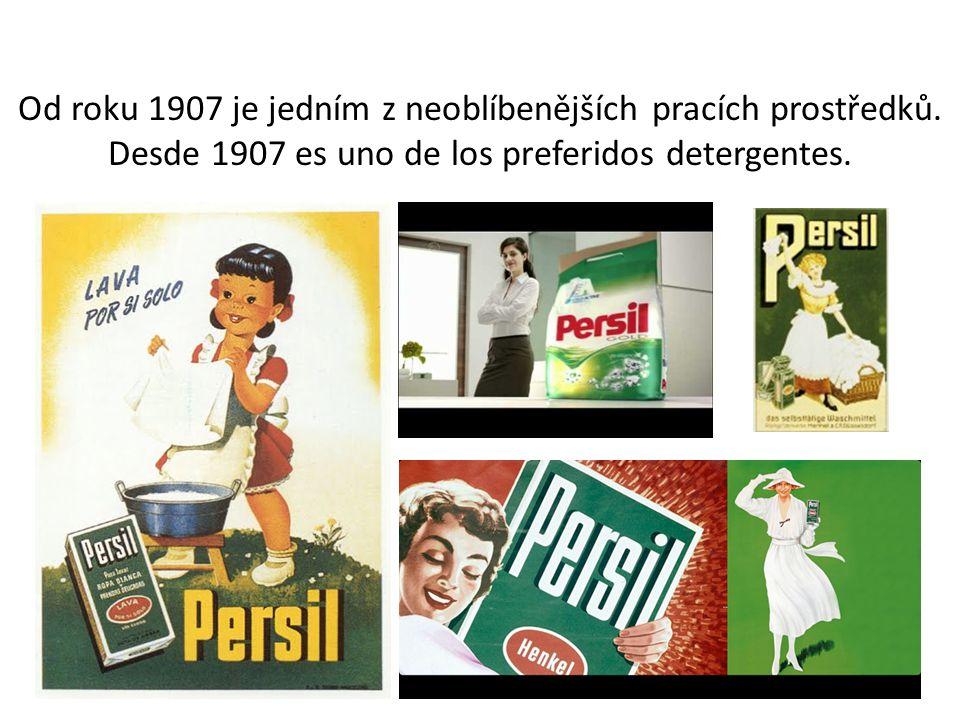 Stará reklama- anuncio antiguo En esta imagen que anuncia un detergente llamado Persil, podemos ver una mujer feliz, que tiene una cesta llena de ropa blanca, que es destacado por la calidad del producto.