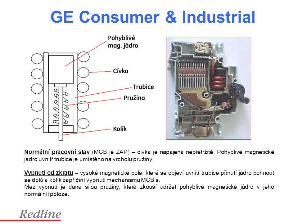 GE Consumer & Industrial Normální pracovní stav (MCB je ZAP) – cívka je napájená nepřetržitě. Pohyblivé magnetické jádro uvnitř trubice je umístěno na