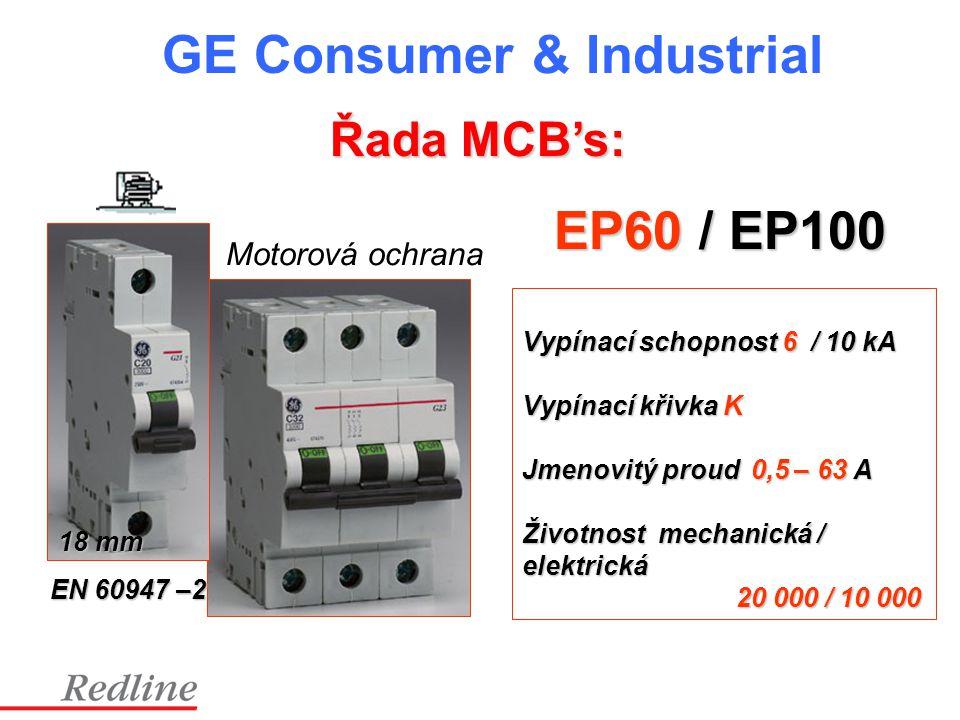 EP60 / EP100 Vypínací schopnost 6 / 10 kA Vypínací křivka K Jmenovitý proud 0,5 – 63 A Životnost mechanická / elektrická 20 000 / 10 000 20 000 / 10 0
