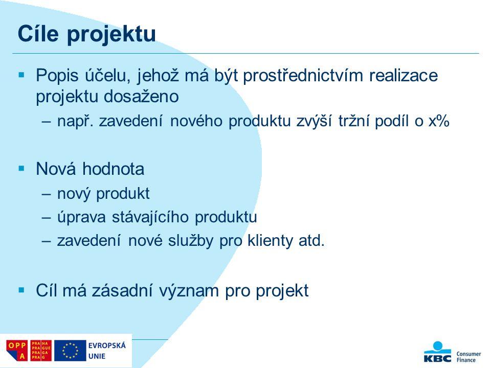 Cíle projektu  Popis účelu, jehož má být prostřednictvím realizace projektu dosaženo –např. zavedení nového produktu zvýší tržní podíl o x%  Nová ho