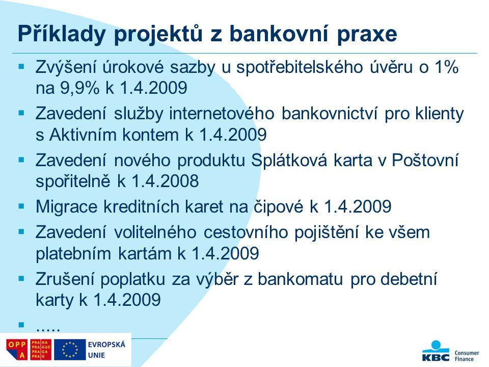 Příklady projektů z bankovní praxe  Zvýšení úrokové sazby u spotřebitelského úvěru o 1% na 9,9% k 1.4.2009  Zavedení služby internetového bankovnict