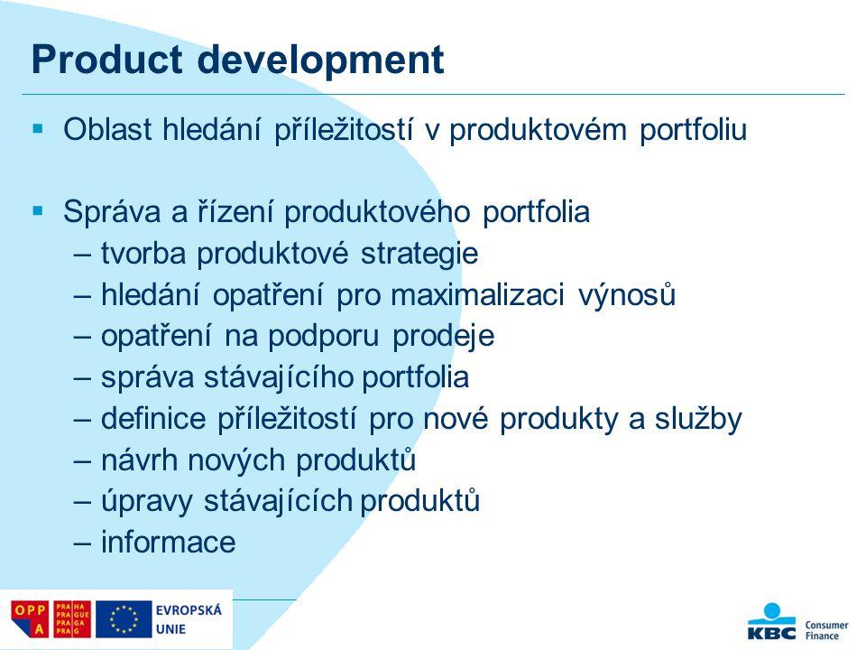 Product development  Oblast hledání příležitostí v produktovém portfoliu  Správa a řízení produktového portfolia –tvorba produktové strategie –hledá