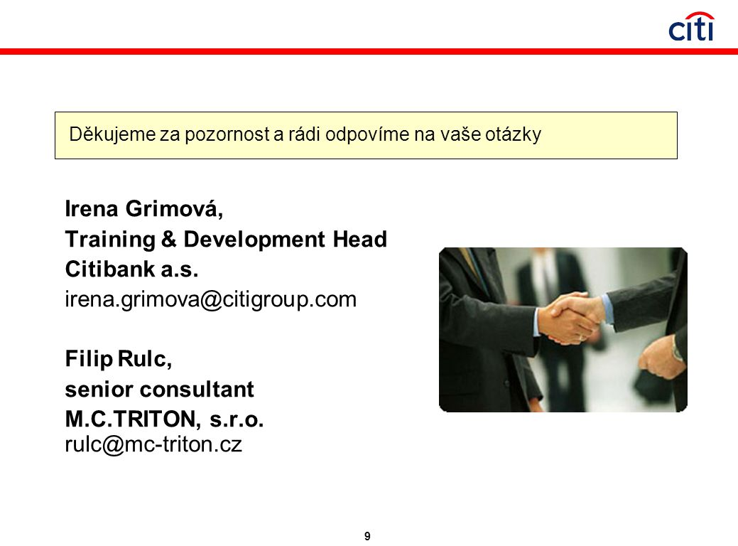 9 Irena Grimová, Training & Development Head Citibank a.s.