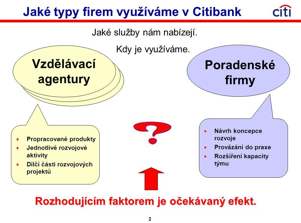 2 Jaké typy firem využíváme v Citibank Jaké služby nám nabízejí.