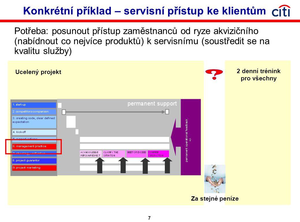 7 Konkrétní příklad – servisní přístup ke klientům Potřeba: posunout přístup zaměstnanců od ryze akvizičního (nabídnout co nejvíce produktů) k servisnímu (soustředit se na kvalitu služby) Ucelený projekt 2 denní trénink pro všechny Za stejné peníze