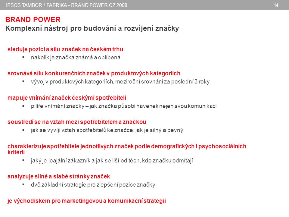 IPSOS TAMBOR / FABRIKA – BRAND POWER CZ 2008 14 BRAND POWER Komplexní nástroj pro budování a rozvíjení značky sleduje pozici a sílu značek na českém trhu  nakolik je značka známá a oblíbená srovnává sílu konkurenčních značek v produktových kategoriích  vývoj v produktových kategoriích, meziroční srovnání za poslední 3 roky mapuje vnímání značek českými spotřebiteli  pilíře vnímání značky – jak značka působí navenek nejen svou komunikací soustředí se na vztah mezi spotřebitelem a značkou  jak se vyvíjí vztah spotřebitelů ke značce, jak je silný a pevný charakterizuje spotřebitele jednotlivých značek podle demografických i psychosociálních kritérií  jaký je loajální zákazník a jak se liší od těch, kdo značku odmítají analyzuje silné a slabé stránky značek  dvě základní strategie pro zlepšení pozice značky je východiskem pro marketingovou a komunikační strategii