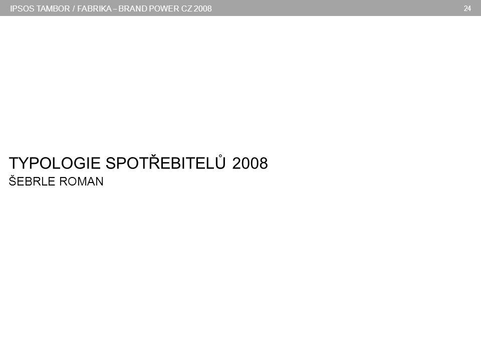 IPSOS TAMBOR / FABRIKA – BRAND POWER CZ 2008 24 TYPOLOGIE SPOTŘEBITELŮ 2008 ŠEBRLE ROMAN